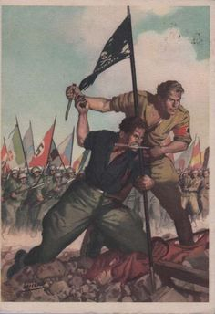 Italian WWII Fascist An Italian Fascist Black-Shirt-Arditi with a German Wehrmacht soldier at his side, foreground. With masses of supporting troops from various nations, background. Nazi Propaganda, Ww2 Posters, Italian Posters, Political Art, Picture Postcards, Military Art, Vintage Posters, Tumblr, Illustration