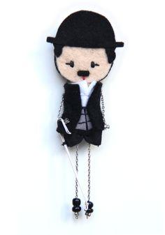 Charles Chaplin # felt dolls # brooche doll # custom doll # minimis