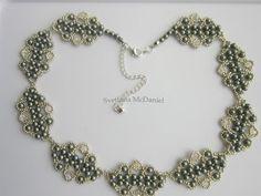 Necklace with Swarovski pearls and bicones. DIY . Step by Step . Колье Сваровских . - YouTube