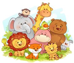 Vector illustration of jungle animals , Jungle Animals. Vector illustration of jungle animals , Jungle Animals, Baby Animals, Cute Animals, Animal Pictures For Kids, Cute Pictures, Cartoon Pics, Cartoon Drawings, Jungle Theme, Cute Illustration