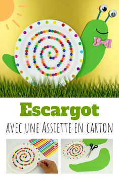 Make a snail with a paper plate and pearls Fun Crafts For Kids, Diy For Kids, Gifts For Kids, Infant Activities, Preschool Activities, Beautiful Birthday Cards, Collage, Diy Cards, Paper Crafts