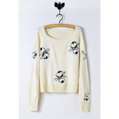 $14.90 Sweet Scoop Neck Solid Color Embroidered Flowers Batwing Cotton Blend Sweater For Women