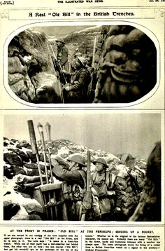 """WWI, Jan 1918;""""At the front in France, 'Old Bill' at the periscope - sending up a rocket"""" - The Illustrated War News"""