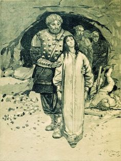 Malusha, the daughter-in-law of Olga of Kiev, and ancestress of Prince Phillip. The Norse sagas describe her as a prophetess who lived to the age of 100 and was brought from her cave to the palace to predict the future. #royals #royalty #Russia