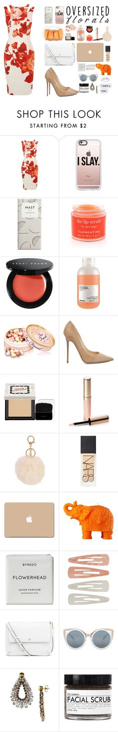 """""""Oversized Florals Dress"""" by danielasilva12 ❤ liked on Polyvore featuring Karen Millen, Casetify, Sara Happ, Bobbi Brown Cosmetics, Davines, Jimmy Choo, Benefit, By Terry, NARS Cosmetics and 3M"""
