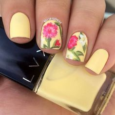 Matte Yellow Flower Nail Design