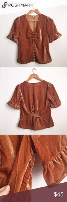 4eed1a7d7a18 Madewell Velvet Daylight Top Vintage Gold Sz 8 NWT Seventies style velvet  top by Madewell Ruffle