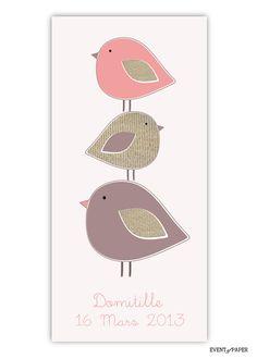faire-part naissance fille chic moderne oiseau rose violet : Faire-part par eventofpaper