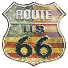 VINTAGE ANTIQUE STYLE CLASSIC ROUTE 66 TIN SIGN CAR TRAVEL YARD ART AMERICANA in Antiques | eBay