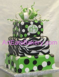 pictures of shower cakes for girls with animal print designs   ... , black and white custom animal print square fondant birthday cake
