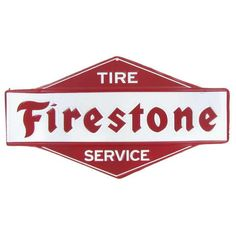 If timeless nostalgic decor revs you up, this Firestone Tire Service Embossed Die Cut Tin Sign is sure to get your motor running! This classic tire company advertisement sign is the perfect accent for