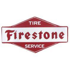 Firestone Tire Service Embossed Die Cut Tin Sign