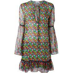 Au Jour Le Jour floral print chiffon dress ($410) ❤ liked on Polyvore featuring dresses, multicolor, short chiffon dress, flower print dress, floral dresses, shift dress and short-sleeve shift dresses