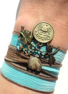 Elige tu signo del Zodiaco abrigo de seda Pulsera Yoga joyería cáncer libélula bohemio regalo único para su cumpleaños bajo artículo 50 Z91