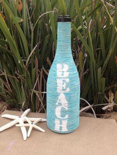 Turquoise Beach Jute Wrapped Wine Bottle add some sea shells Wrapped Wine Bottles, Wine Bottle Corks, Wine Bottle Crafts, Bottles And Jars, Mason Jar Crafts, Glass Bottles, Mason Jars, Wine Craft, Altered Bottles