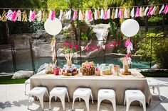 craft table - balloon with tassels - tassels - bunting garland | photo by sophie jacobson/love bucket photo