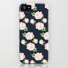 Blue and Pink Vintage Rose Pattern iPhone & iPod Case by heartlocked - $35.00