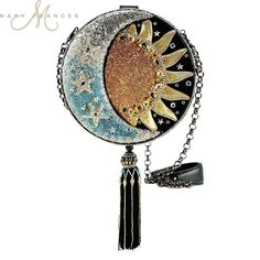 'Day To Night' Embellished Sun Moon and Stars Round Cross-Body Handbag by Mary Frances Summer Handbags, Cute Handbags, Beautiful Handbags, Cheap Handbags, Vintage Handbags, Purses And Handbags, Louis Vuitton Handbags, Luxury Handbags, Unique Handbags