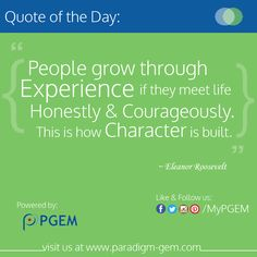 PGEM Quote of the day!  Feel free to Like,Comment & Share!  #PGEM #EducationalQuote #Experience