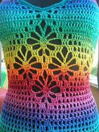 Rainbow crocheted top