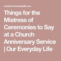 Things for the Mistress of Ceremonies to Say at a Church ...