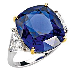 Sapphire, diamond, and gold ring by Faraone