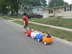 Really cool wagon for four kids. Choo-Choo Wagon.