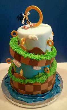 Sonic cake...just like in the game, the rings defy gravity! Or, maybe it's just hidden toothpicks...