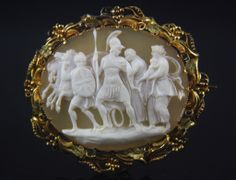 "XLarge 14k Victorian Rare Oyster Shell Cameo ""Andromache attempting to Restrain Hector before his Encounter with Achilles\"""