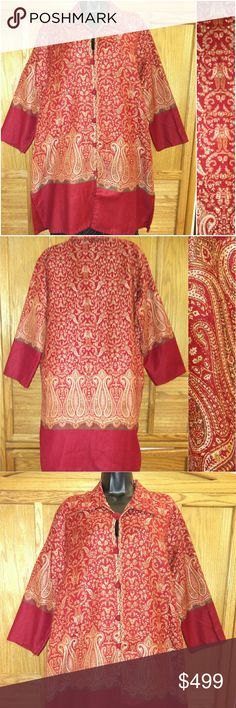 Indian Kashmir Handloom ll Jacket / Top ll XL One of a kind! Authentic Kashmir Jacket. Intricate embroidery.  Collar neck.  Fabric-lined button and loops. Size XL.  Approximate measurements of the jacket are Shoulder 19 inches, Armpit to armpit 24 inches, Length 36 inches, and Sleeve Length 20 inches. One of the fabric lined buttons is missing and another loose as shown in the photo. Excellent condition. This Kashmiri jacket is work of art!   Bundle multiple purchases to avail discounts and…