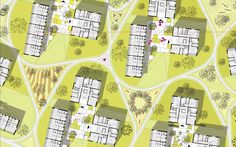 Image 9 of 16 from gallery of Green City Housing Complex / Chybik + Kristof Associated Architects. Co Housing, Social Housing, Architecture Graphics, Landscape Architecture, Architecture Sketches, Residential Complex, Architecture Visualization, Site Plans, Landscaping Company