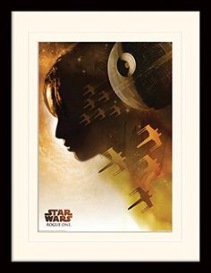 Star Wars Framed Collector Poster  Rogue One Jyn Silhouette 16 x 12 inches -- Learn more by visiting the image link.