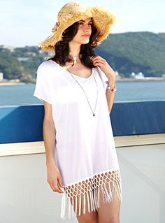 88204a3a257 MG Collection® White Chiffon Fringe Flowy Beachwear Bikini Swimsuit Cover Up  MyGift http:/