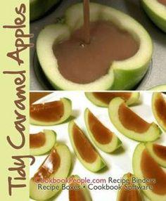Tidy caramel apples