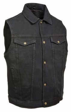 Mens Shirt Collar Black Denim Motorcycle Vest