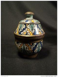 Paire de Petites Jobbana Polychrome Faïence Maroc XXème Afrique du Nord Moroccan ceramic