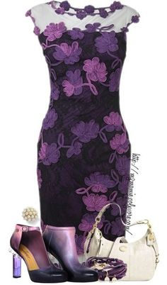 A fashion look from April 2013 featuring Chanel ankle booties and White House Black Market earrings. Browse and shop related looks. Purple Fashion, Look Fashion, Womens Fashion, Latest Fashion, Classy Outfits, Beautiful Outfits, Cute Outfits, Gorgeous Dress, Mode Purple