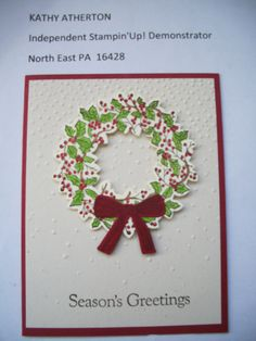 Kathy's October 2015 Stamp Camp Card #1 - SU Peaceful Wishes stamp, Flurry Embossing Folder and wreath thinlits