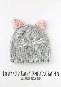 Baby Knitting Patterns Kitty Cat Baby Hat KNITTING PATTERN knit cat by LittleRedWin...