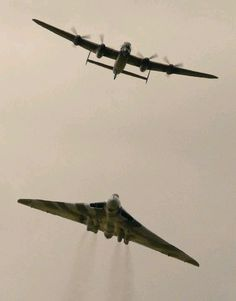 Awesome shot of XH558 and the RAF BBMF Lancaster. Avro & Roy Chadwick's finest.