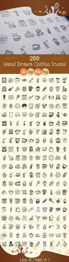Buy 200 Hand Drawn Coffee Icons by chennie on GraphicRiver. This pack contains 200 Hand Drawn Coffee Icons - AI, EPS, and PSD files shapes - Transparent PNG for each icon (. Doodle Drawings, Doodle Art, Zentangle, Coffee Icon, Doodle Icon, Sketch Notes, Illustration, Bullet Journal Inspiration, Drawing Tutorials