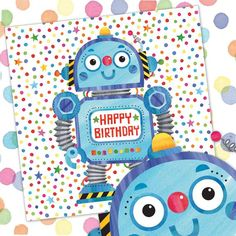Robot  - Boy's birthday cards from Phoenix Trading  £1.75 per card or £1.40 when buying 10 or more.  Children, Children's birthday cards