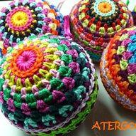 Crochet pattern colourful Christmasball by ATERGcrochet