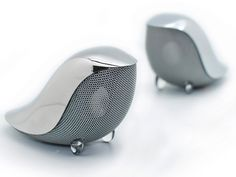 Gavio, Wrenz Bird Speakers: Small portable speakers designed in singapore by gavio. ports are hidden in the back. Gadgets And Gizmos, Cool Gadgets, Electronics Gadgets, Small Portable Speakers, Tiny Bird, Speaker Design, Take My Money, Yanko Design, Deco Design