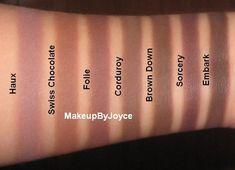 MAC eyeshadow swatches: Haux, Swiss Chocolate, Folie, Corduroy, Brown Down, Sorcery & Embark