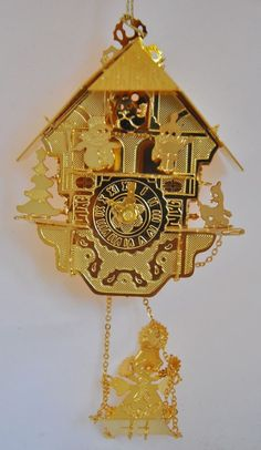 "1996 Danbury Mint Bavarian Style ""Cuckoo Clock"" 3D 23k Gold Finish Ornament"