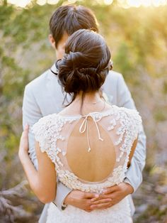 love the updo and the back of the dress