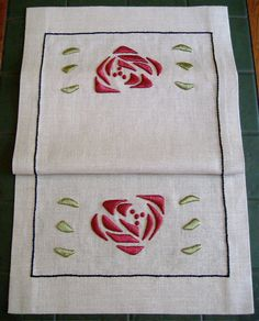 Silk Rose Table Scarf, Craftsman, Mission Style, Hand Embroidered. $200.00, via Etsy.
