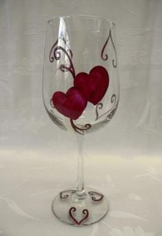 Hand painted wine glass-Painted hearts-Valentine wine glass
