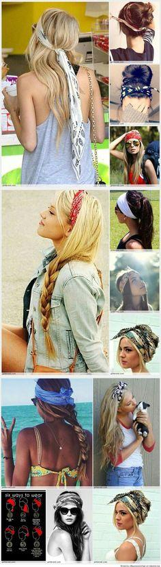 Cool ways to wear a bandana hair care бандана для волос, зап Bandana Hairstyles, Summer Hairstyles, Pretty Hairstyles, Hairstyle Ideas, Bangs Hairstyle, Fashion Hairstyles, Hairband Hairstyle, College Hairstyles, Black Hairstyle